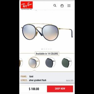 Ray Ban Round Double Bridge Blue Sunglasses